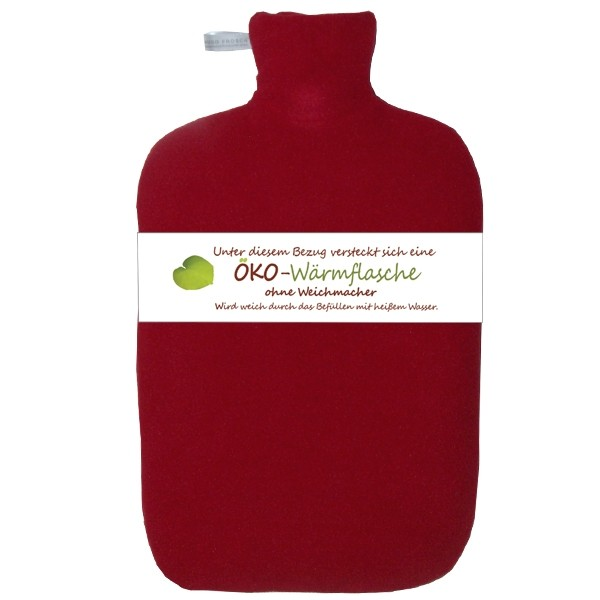 Öko-Wärmflasche Fleecebezug rot