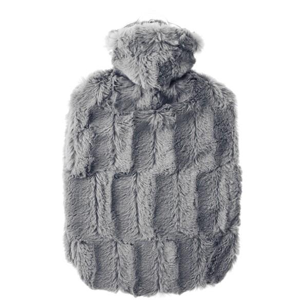 Wärmflasche Klassik Bezug Tierfelloptik grau