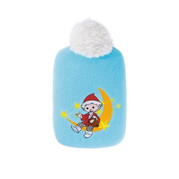 "Kinder Öko-Wärmflasche 0,8 L mit ""Sandmännchen Mond"" Soft-Fleecebezug hellblau"