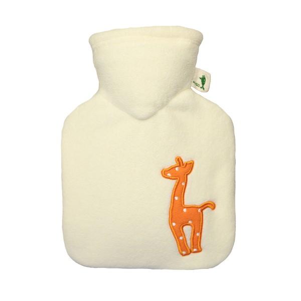 Kinder-Wärmflasche mit Bezug Fleece weiß Giraffe