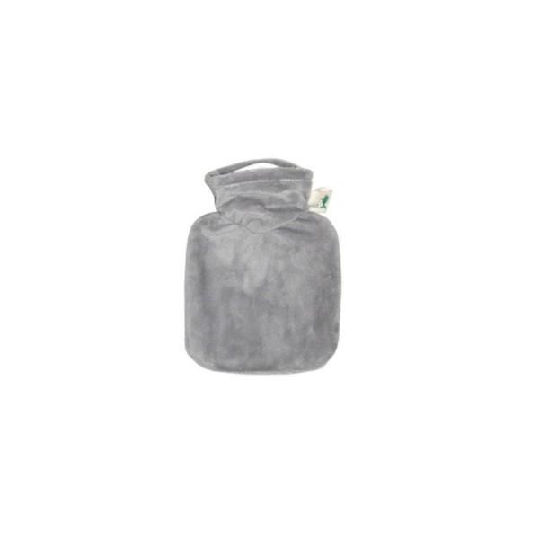 Mini-Wärmflasche mit Veloursbezug grau