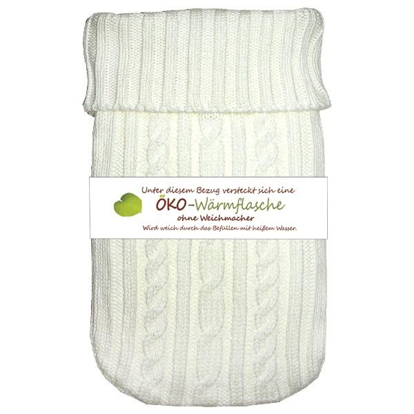 Öko-Wärmflasche mit Strickbezug weiß
