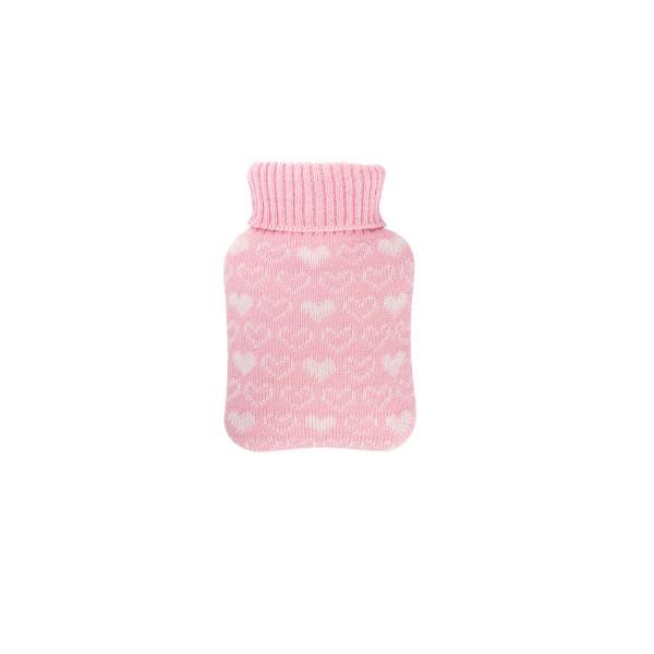 Mini-Wärmflasche 0,2 L mit Strickbezug rosa Herzen