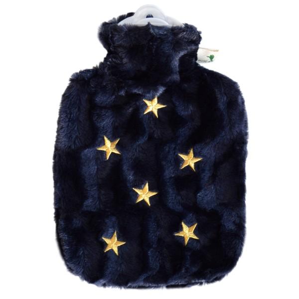 Wärmflasche Klassik mit Bezug Tierfelloptik nachtblau Sterne