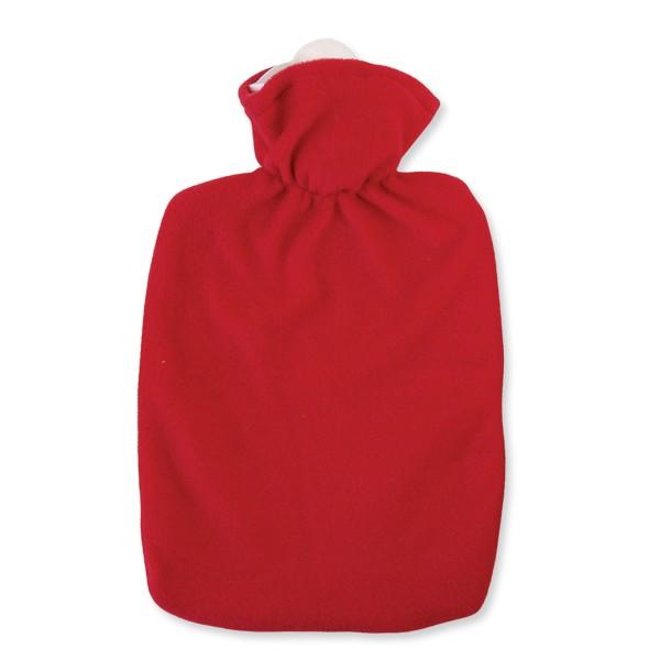 Wärmflasche Klassik Fleecebezug rot