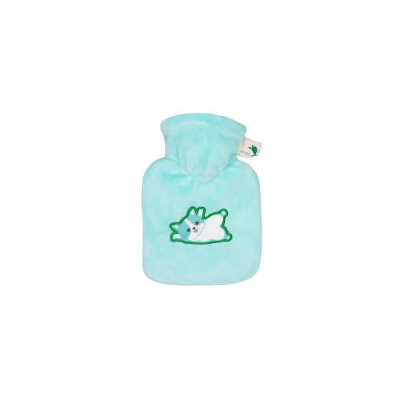Mini-Wärmflasche 0,2 L mit Veloursbezug mint Katze
