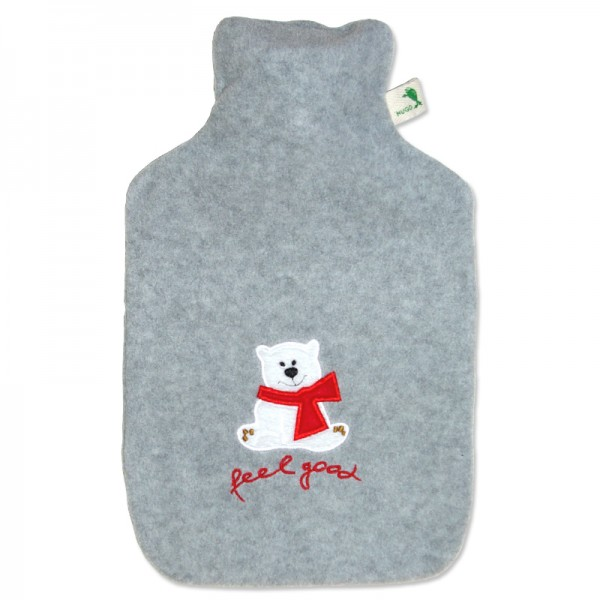 Wärmflasche Klassik Fleecebezug grau