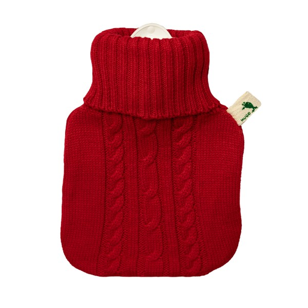 Kinder-Wärmflasche Strickbezug rot