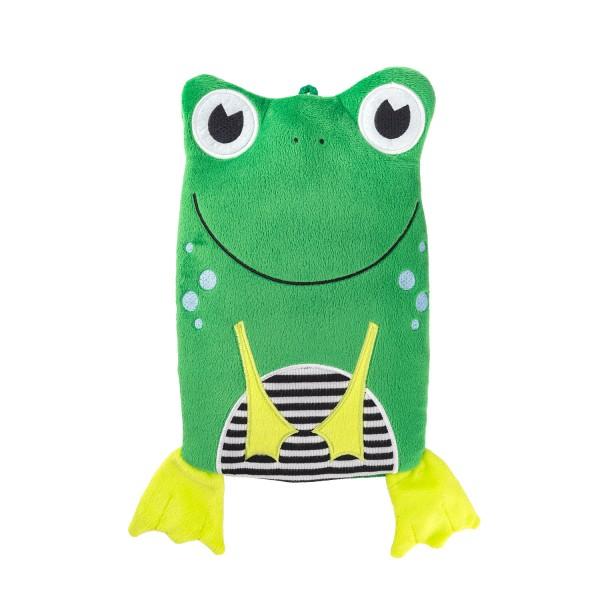 "Kinder Öko-Wärmflasche 0,8 L mit ""Frosch"" Veloursbezug grün"