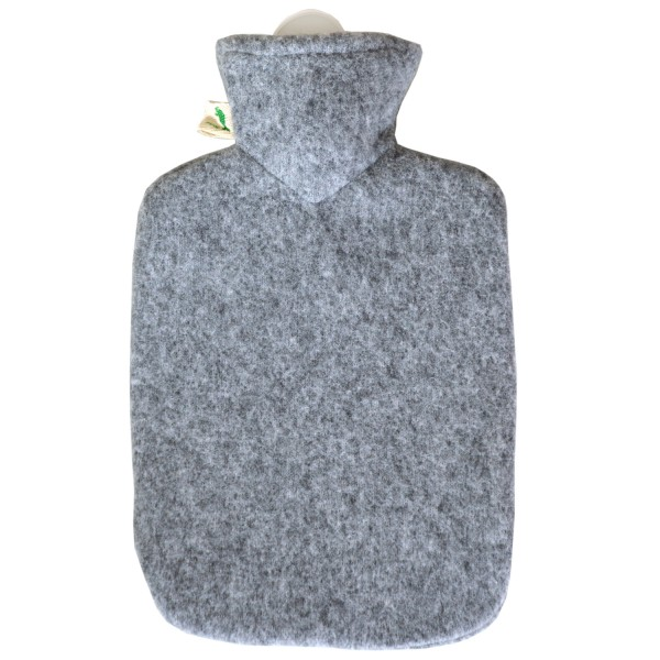 Wärmflasche Klassik Strickbezug Filzoptik grau-melange
