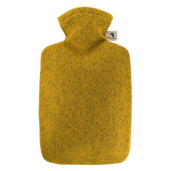 Wärmflasche Klassik 1,8 L mit Strickbezug Filzoptik Mango-melange