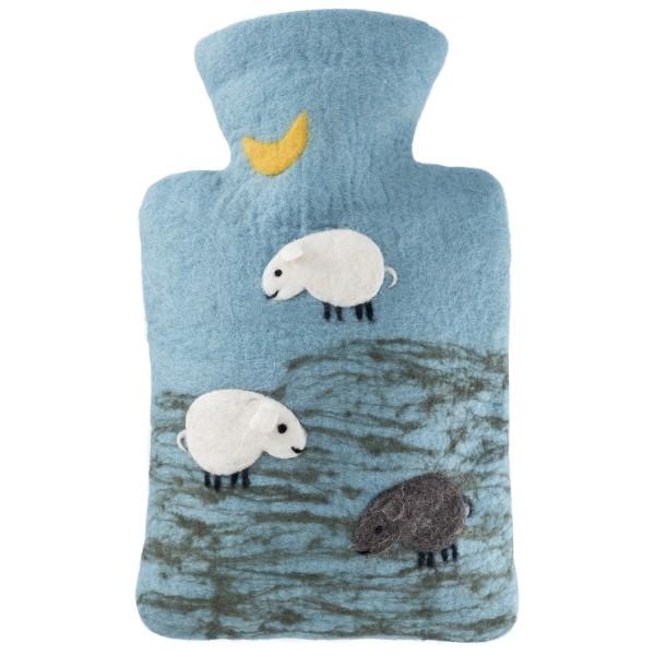 Wärmflasche Klassik Filzbezug Schafe