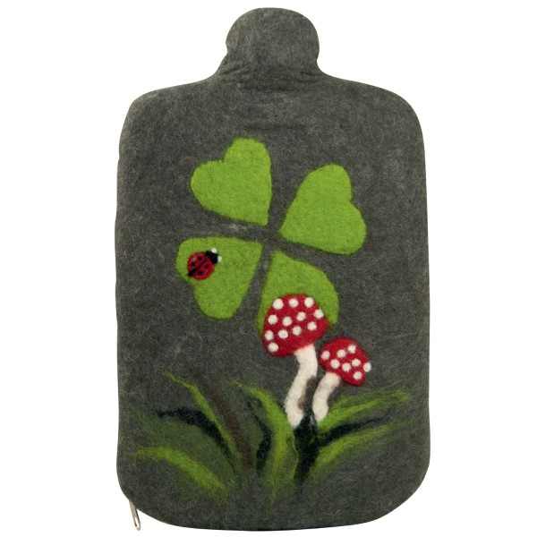 Öko-Wärmflasche mit Filzbezug Klee