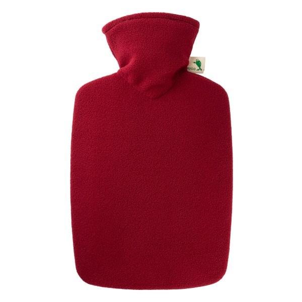 Wärmflasche Klassik 1,8 l mit Fleecebezug dunkelrot
