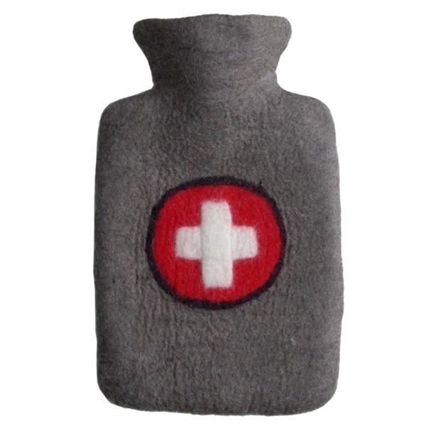 Wärmflasche Klassik Filzbezug Kreuz
