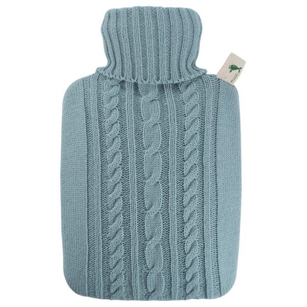 Wärmflasche Klassik Strickbezug pastell-blau