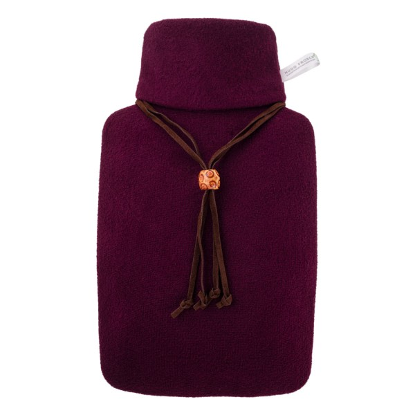 Wärmflasche Klassik 1,8 L mit Strickbezug aubergine