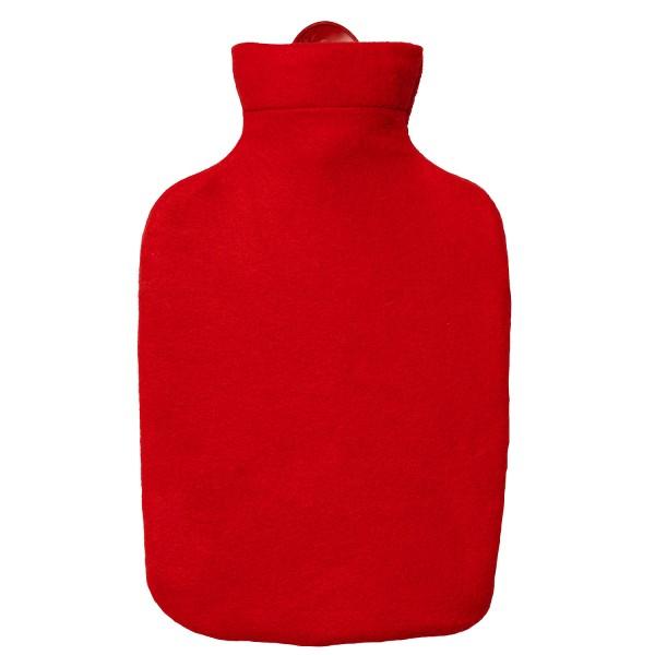 Wärmflasche Klassik mit Fleecebezug rot