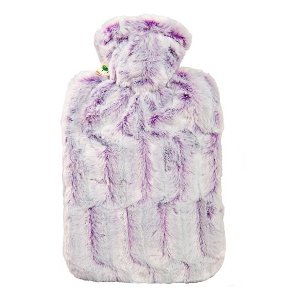 Wärmflasche Klassik Bezug Tierfelloptik lila-silber