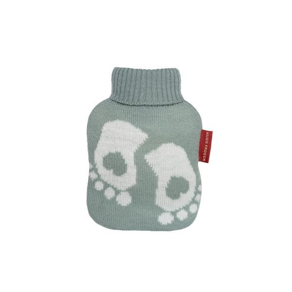 Mini-Wärmflasche mit Strickbezug pastellgrün Füße