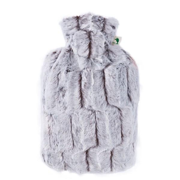 Wärmflasche Klassik mit Bezug Tierfelloptik braun-silber