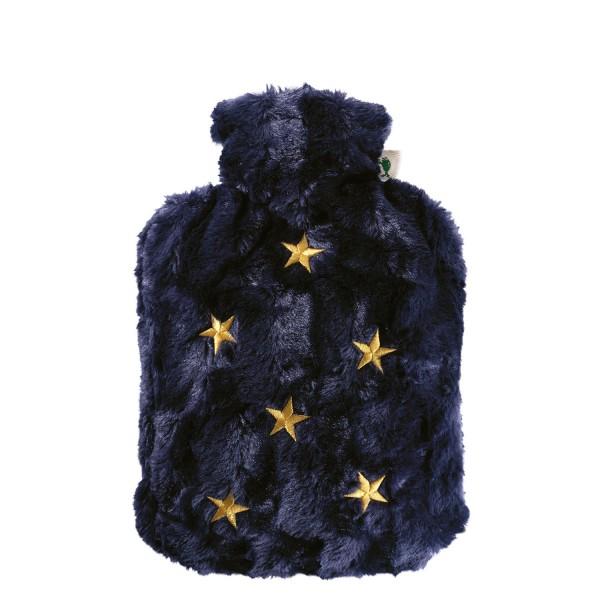 Wärmflasche Klassik 1,8 L mit Bezug Tierfelloptik nachtblau Sterne