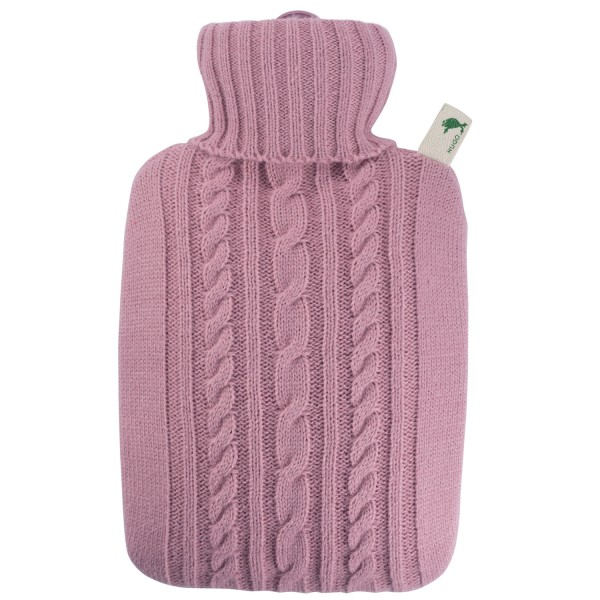 Wärmflasche Klassik mit Strickbezug pastell-rosa