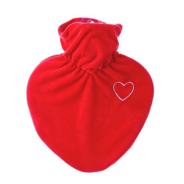 Wärmflasche Herz mit Veloursüberzug rot