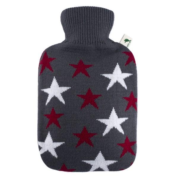 Wärmflasche Klassik 1,8 L mit Strickbezug Sterne bordeaux