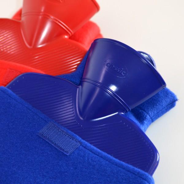 Wärmflaschen Klassik Fleece blau