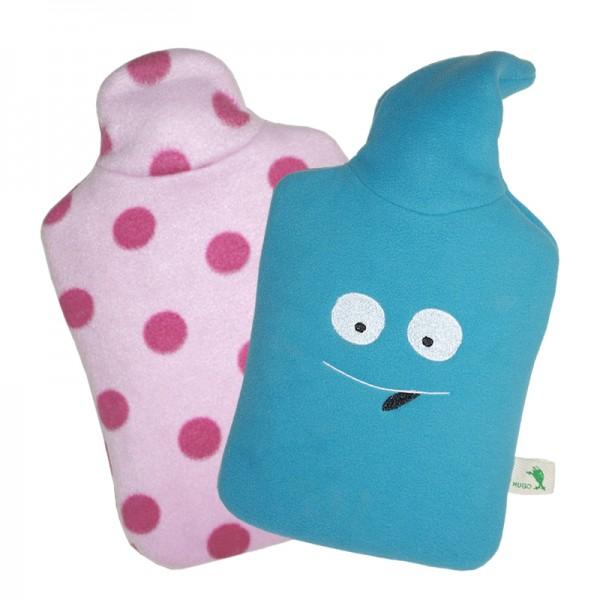 Set - Kinder Öko-Wärmflaschen Smiley und rosa Punkte