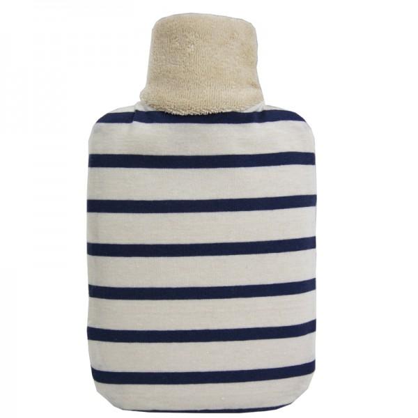 Öko-Wärmflasche Junior mit Bio-Bezug blau-weiss