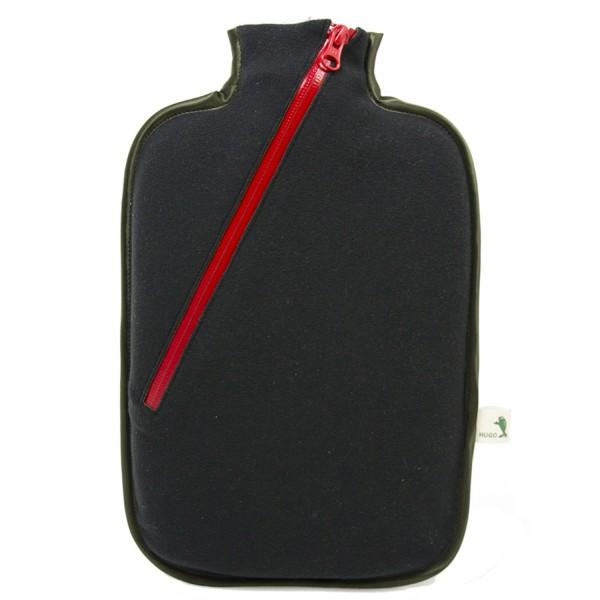 Öko-Wärmflasche mit Softshell-Bezug schwarz