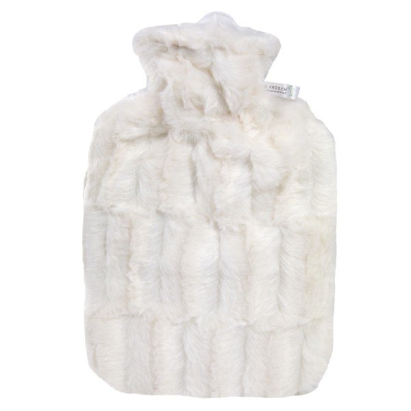 Wärmflasche Klassik Bezug Tierfelloptik weiß