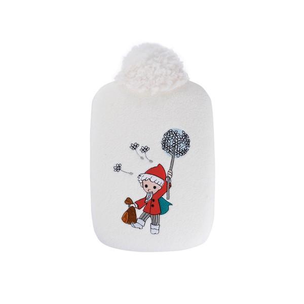 "Kinder Öko-Wärmflasche 0,8 L mit ""Sandmännchen Pusteblume"" Soft-Fleecebezug weiß"