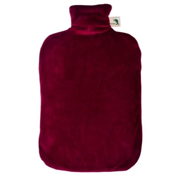 Öko-Wärmflasche Nickibezug rubinrot